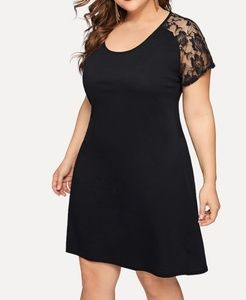 Contrast Lace Solid Dress